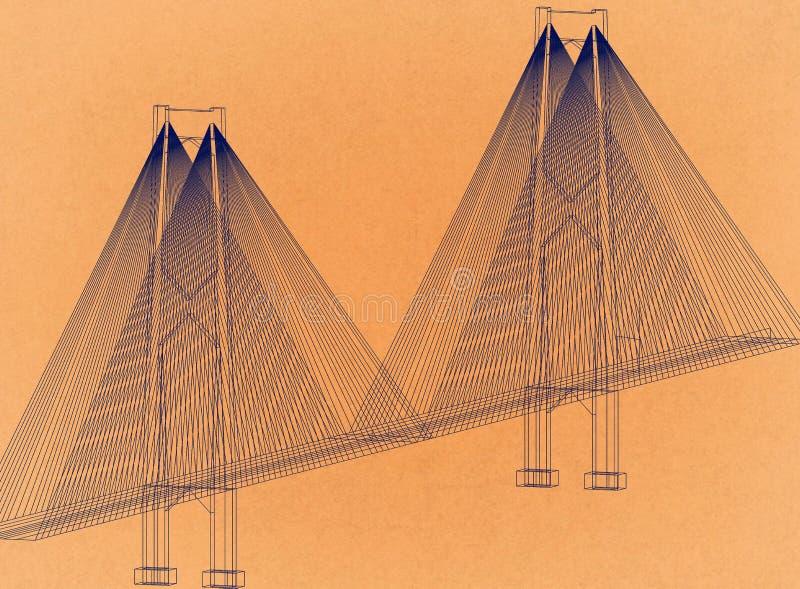 Bridge - Retro Architect Blueprint stock illustration