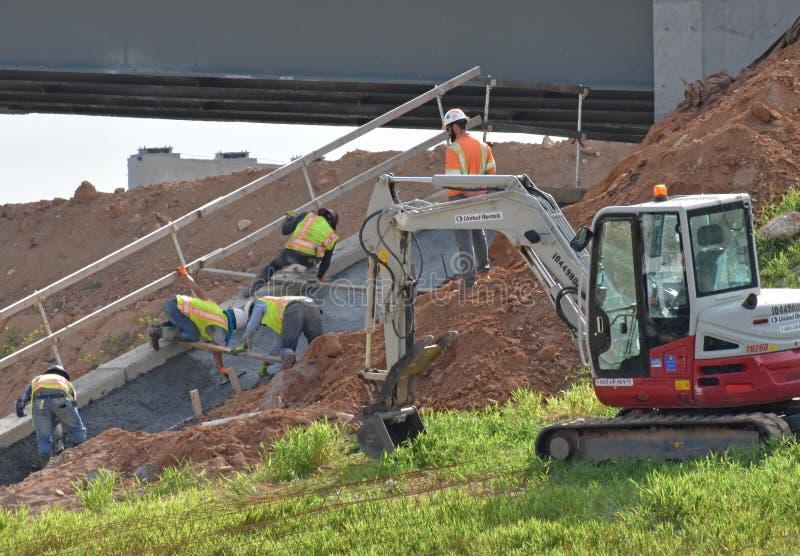A bridge revetment is finished stock photo