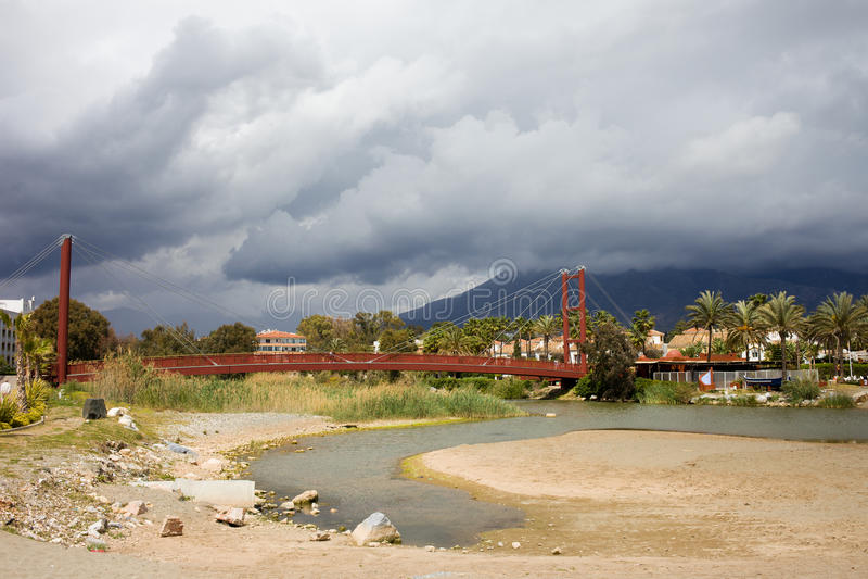 Bridge on Rio Verde in Spain stock photography