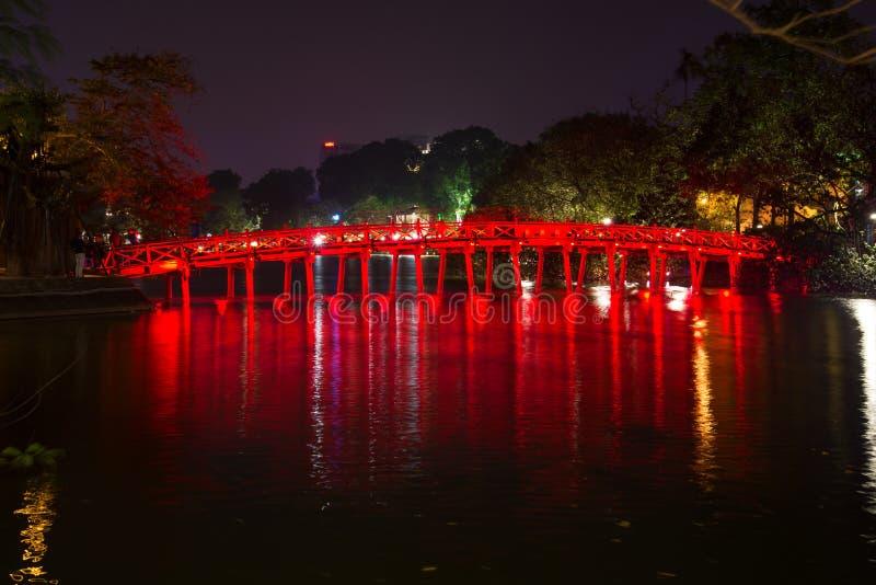 The bridge of the Rising sun in night illumination. Evening Hanoi, Vietnam. The bridge of the Rising sun in night illumination. Evening Hanoi. Vietnam royalty free stock photo