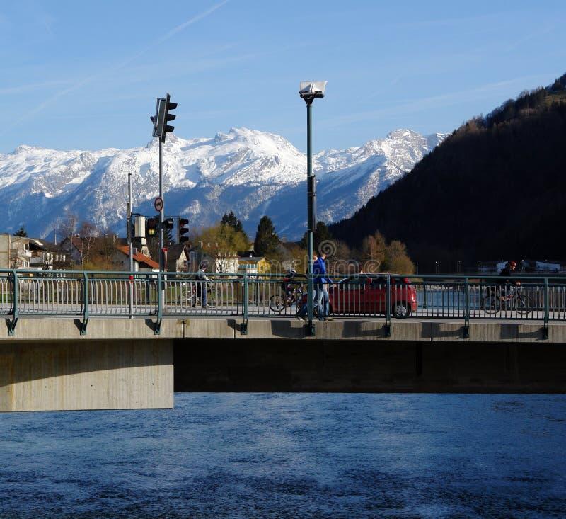 Free Bridge,River And Mountains. Stock Image - 4782641