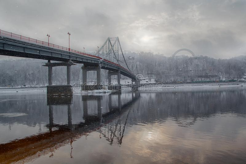 Bridge and the river Dnieper in winter. Kiev stock photos