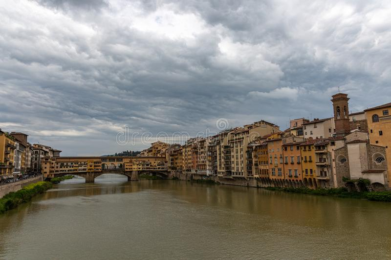Bridge on the river in Florence stock photo