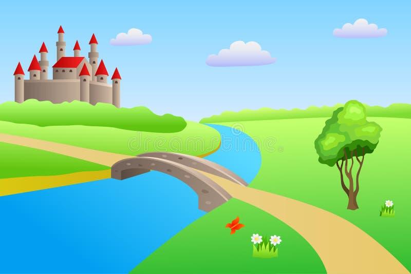 Bridge river summer landscape day castle illustration stock illustration