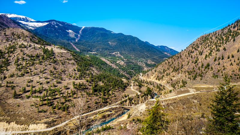 The Bridge River, at the town of Lillooet, British Columbia, Canada stock images
