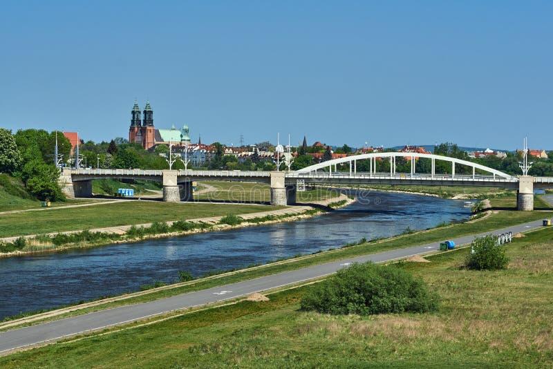 Bridge on the river Warta royalty free stock photos