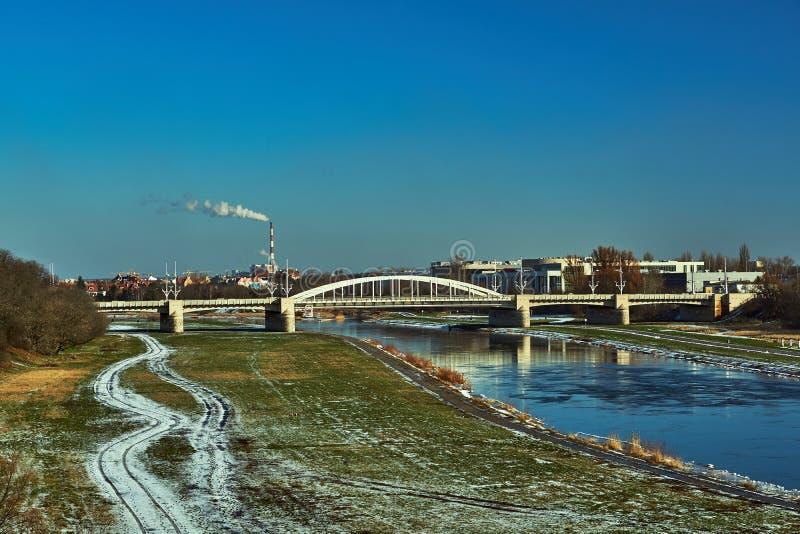Bridge on the river Warta royalty free stock photo