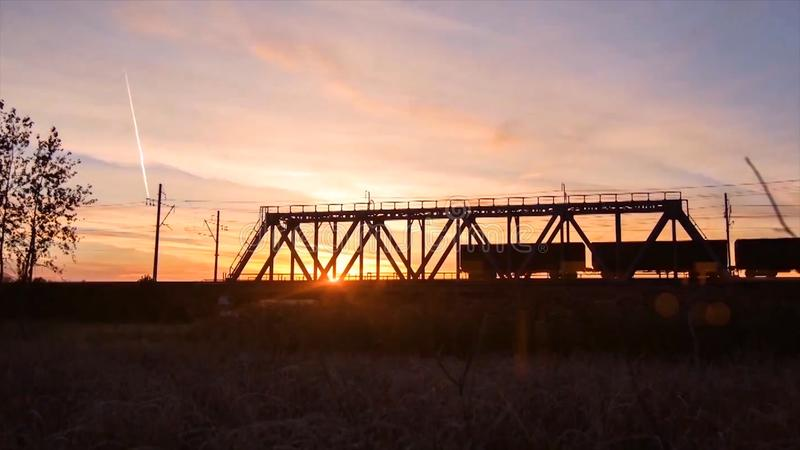 Bridge road. Train traffic transportation. Timelapse railway bridge on sunrise royalty free stock photos