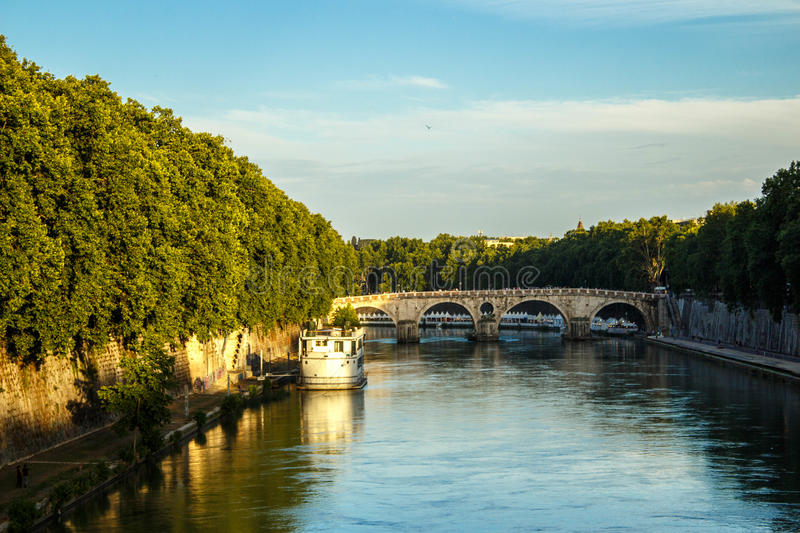 Bridge In Rome Across Tiber River royalty free stock photos