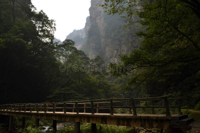 Bridge and rope around the park trail in Wulingyuan scenic area. stock images