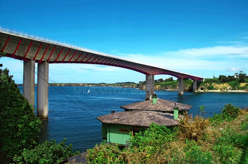 Bridge of the Saints Ribadeo Spain. The bridge of the Saints extends for 612 meters on the Ribadeo river since 1987, the year in which it was built, to serve as stock images