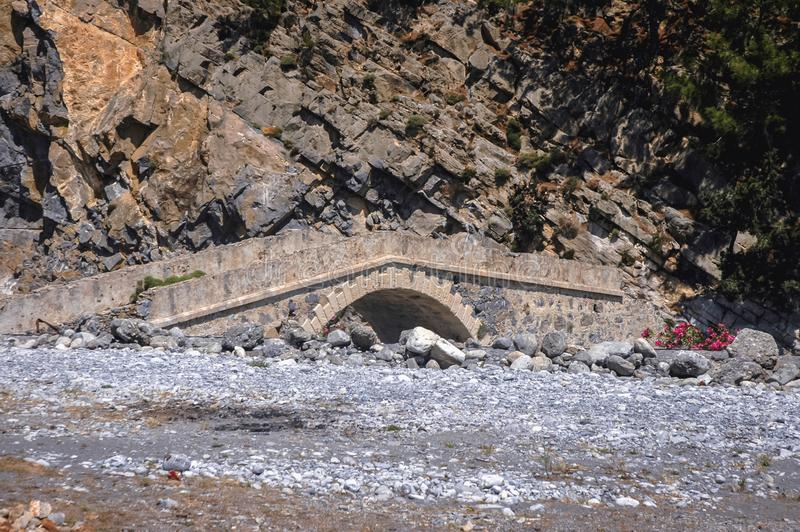Bridge in Samaria Gorge stock photography