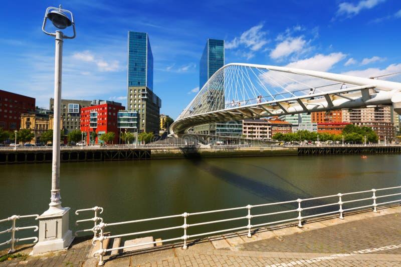 Bridge by Santiago Calatrava. Bilbao, Spain. BILBAO, SPAIN - JULY 4, 2015: Day view of Bridge by Santiago Calatrava. Bilbao, Spain royalty free stock images