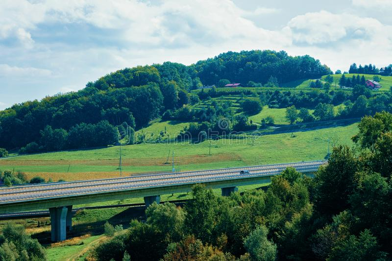 Bridge and Scenery with hills in Maribor stock image
