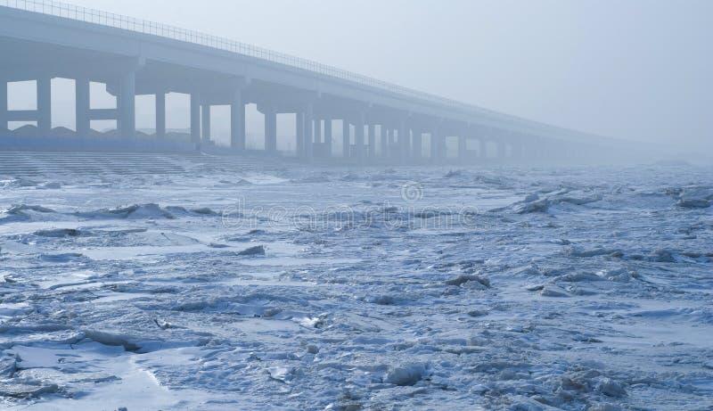 Bridge on Sea ice. In Xiajiahe seaside park Dalian, China stock photography