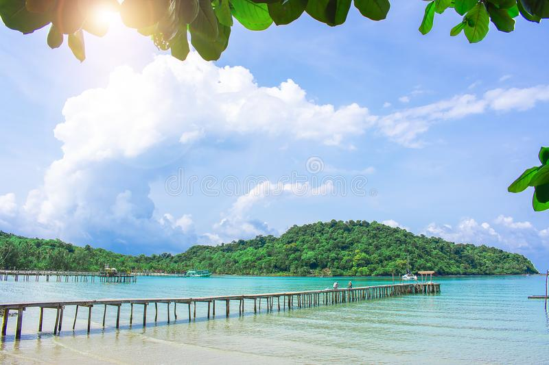 This bridge with Sea and mountain View of Koh Kood, Thailand.metaphor royalty free stock photo