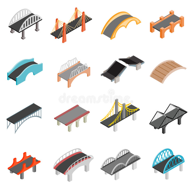 Bridge set icons royalty free illustration