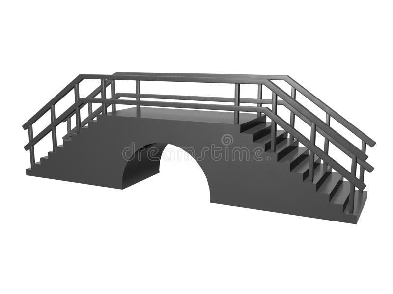 Bridge short. Small short bridge grey white background stock illustration