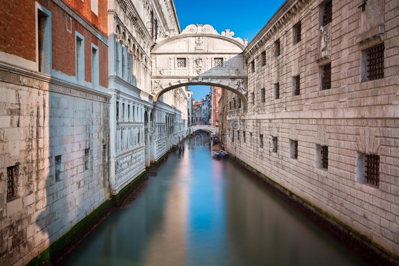 Bridge of Sighs and Doge`s Palace in Venice Italy stock images