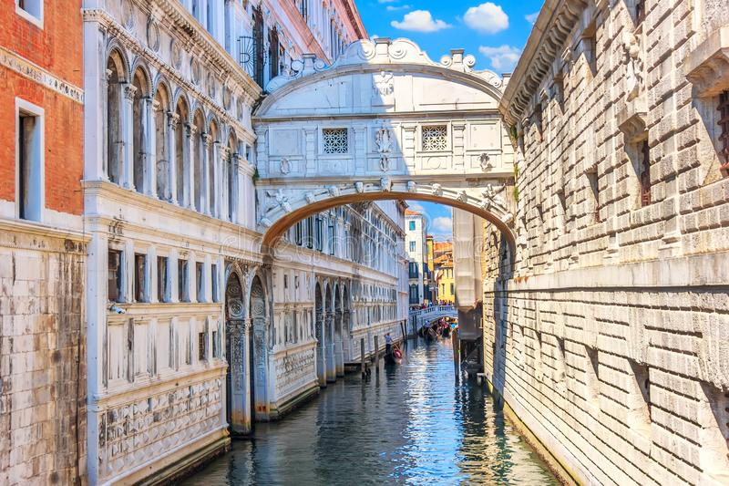 The Bridge of Sighs over the canal of Venice, Italy royalty free stock images