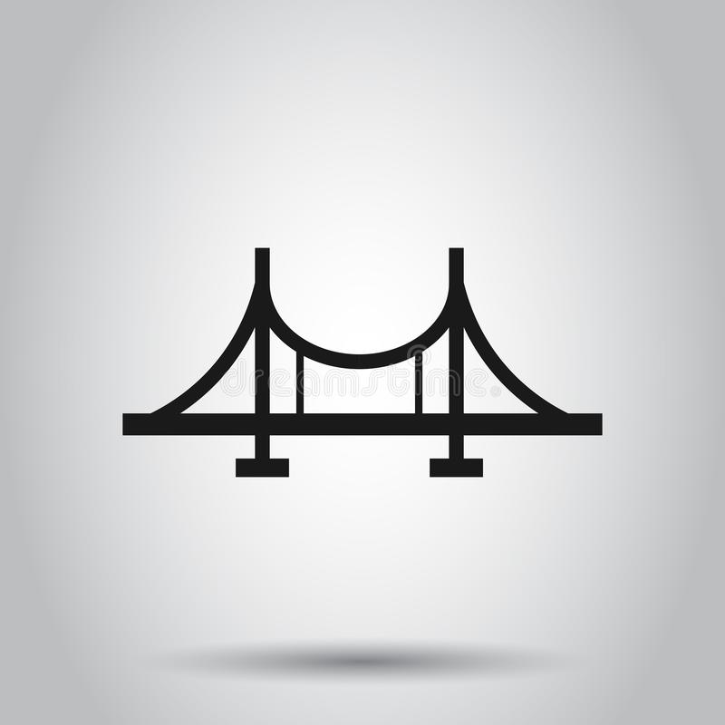 Bridge sign icon in flat style. Drawbridge vector illustration on isolated background. Road business concept.  vector illustration