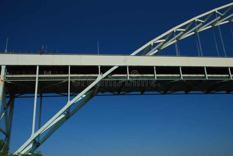 Steel bridge detail against a blue sky. Portland royalty free stock photography