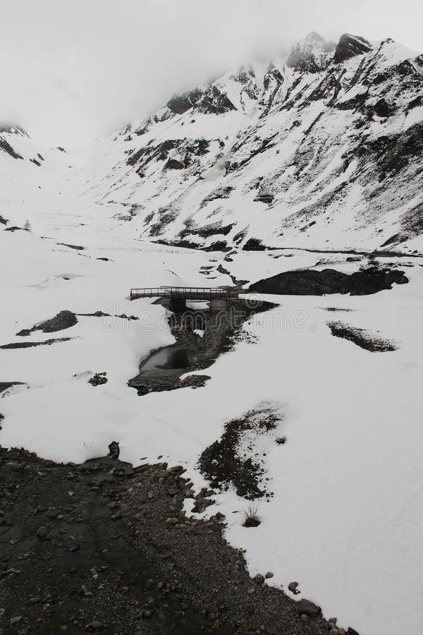 Bridge in the Snow - Hintertux royalty free stock photos