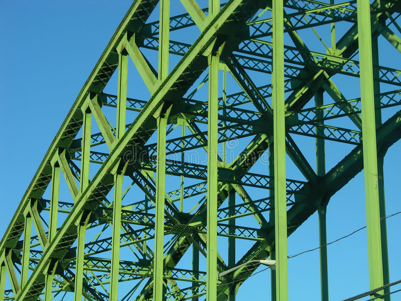 Bridge Span. Metal bridge span, green against a blue sky royalty free stock photo