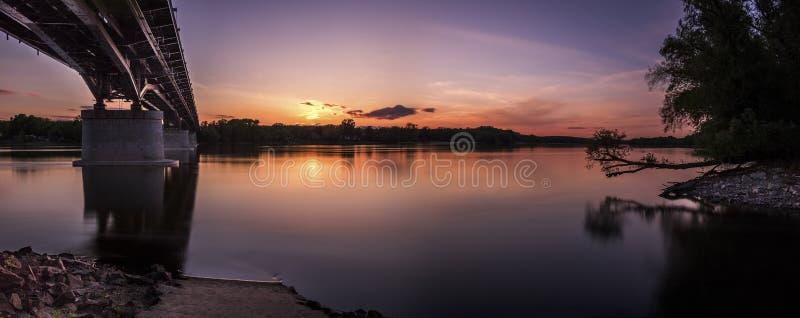 Bridge spans at sunset royalty free stock photos