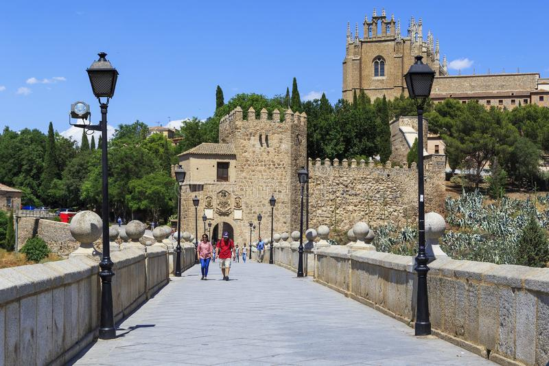 Bridge of St. Martin, Toledo stock image