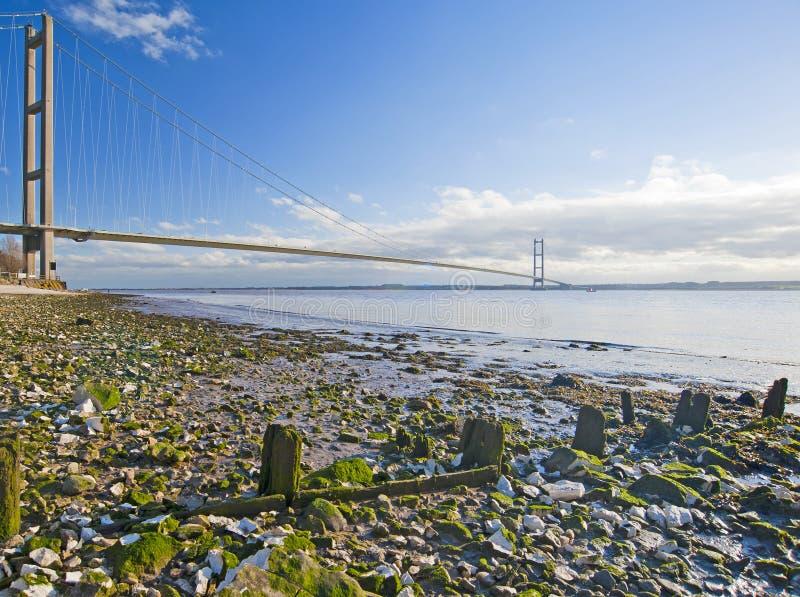 bridge stort över flodinställning royaltyfria bilder