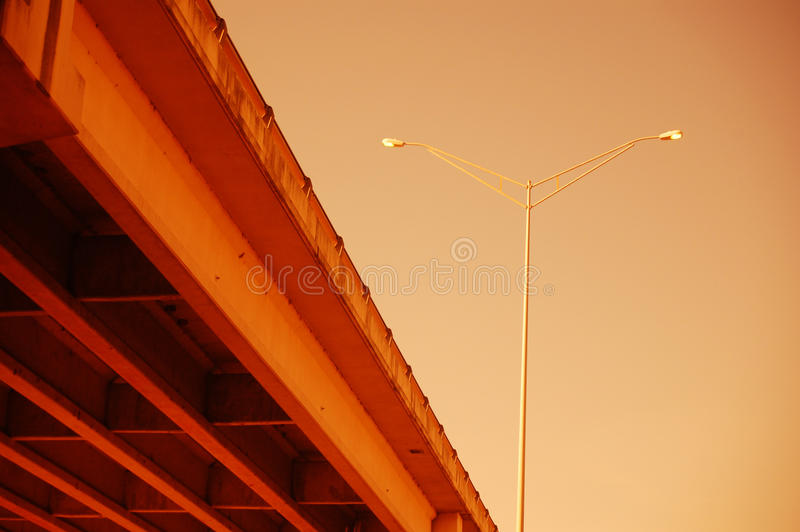 Bridge and Street Lamp stock image