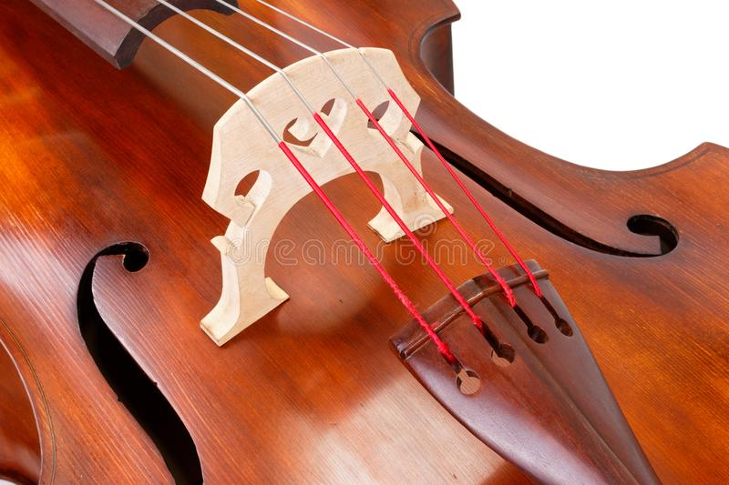 Bridge and strings on a contrabass stock images