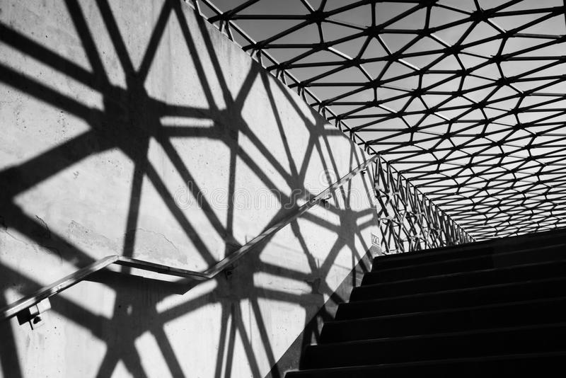 Bridge structure with shadow. Pécs, Hungary, Zsolnay bridge in black and white with shadows royalty free stock images