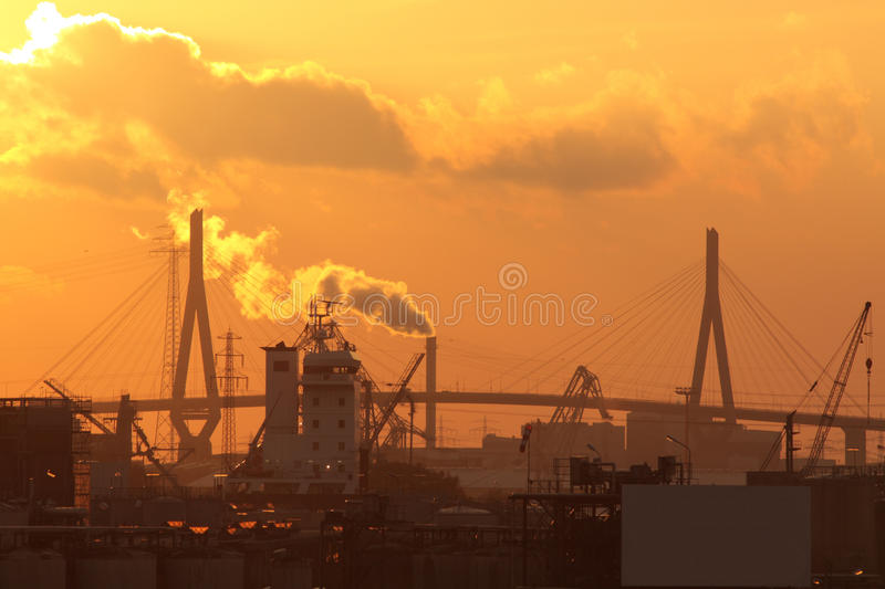 Bridge sunset. Koehlbrandbridge in port of Hamburg, sunset stock photos