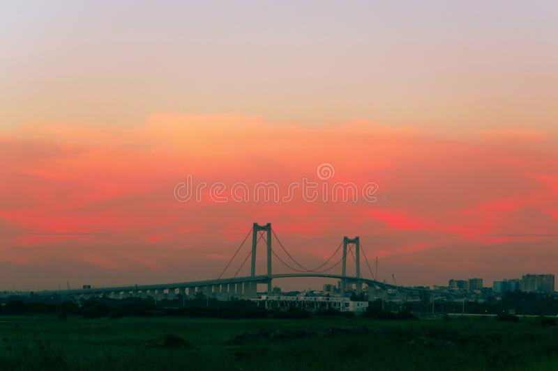 Bridge at sunset in Maputo Mozambique Africa. Bridge bridge across the strait at sunset in Maputo Mozambique Africa royalty free stock image