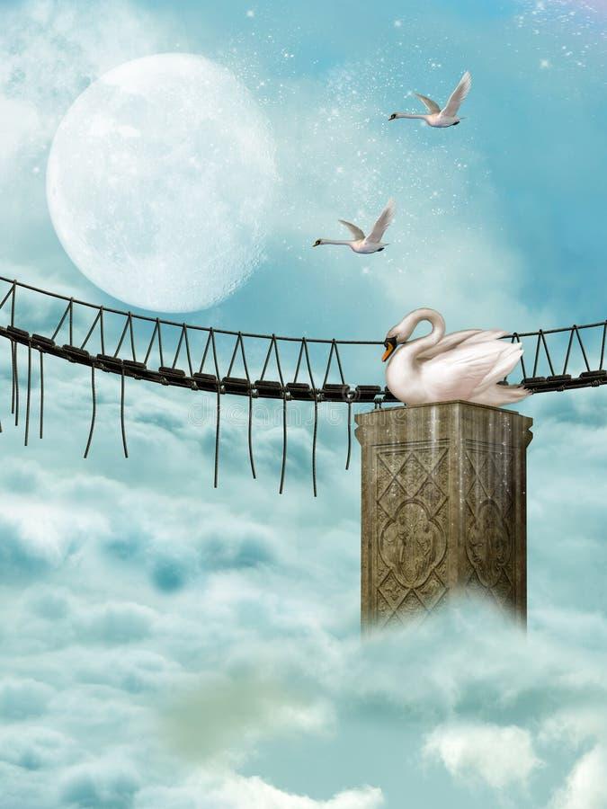 Bridge and swan vector illustration