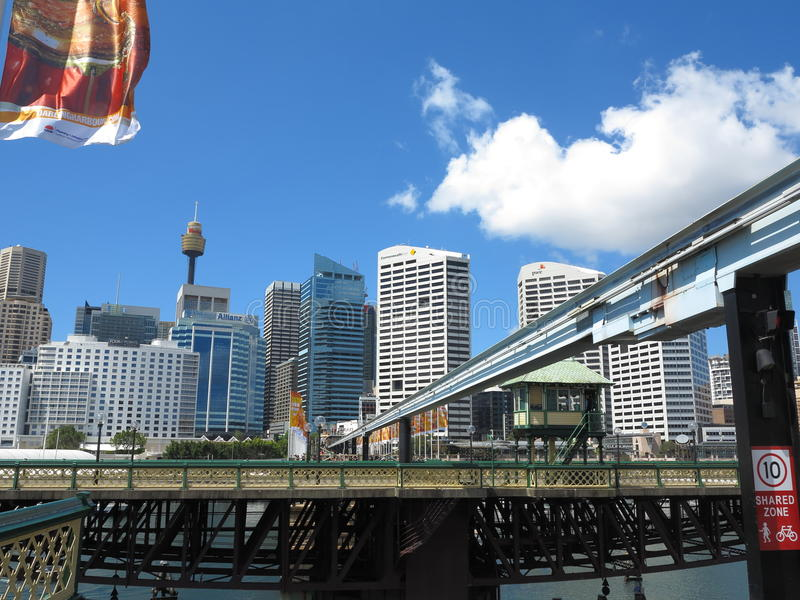 Swing bridge rotation royalty free stock photography