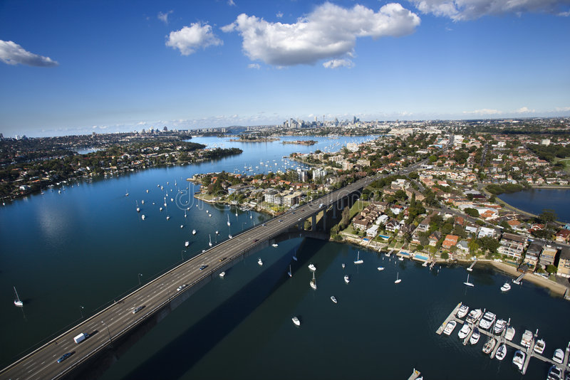 Bridge, Sydney, Australia. Aerial view of Victoria Road bridge and boats in Sydney, Australia royalty free stock photo
