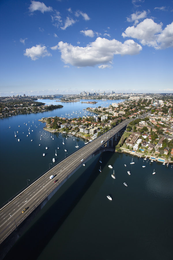 Bridge, Sydney, Australia. Aerial view of Victoria Road bridge and boats in Sydney, Australia royalty free stock photos