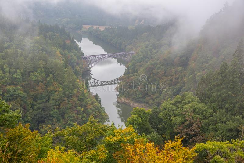 Bridge and Tadami river in Japan stock image