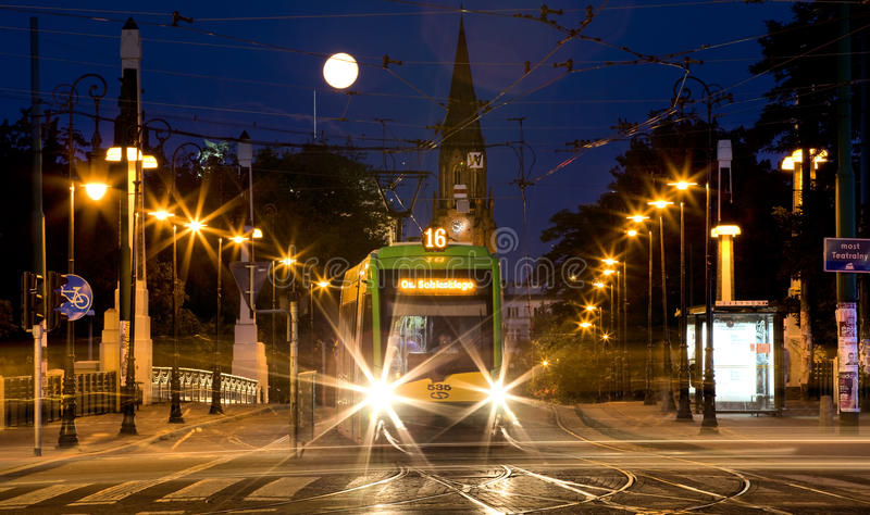 Bridge Theatre in Poznan. Road viaduct over the railway line, known popularly Teatralka, within the administrative boundaries of the city of Poznan stock images