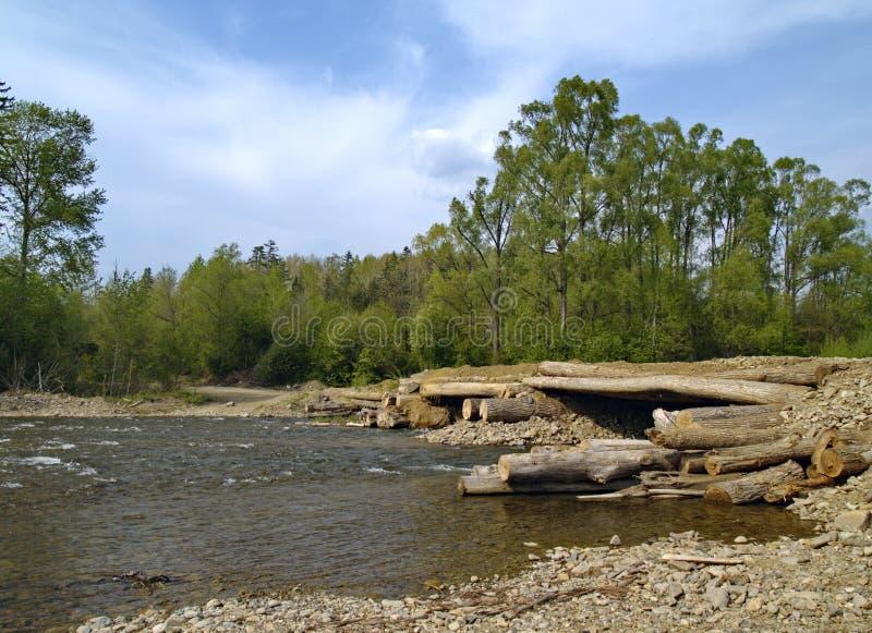 The Bridge through timber river stock images