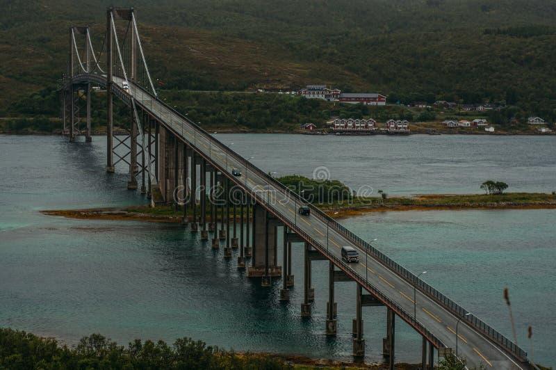 Bridge Tjelsund Bru, Lofoten Islands, Norway stock photography