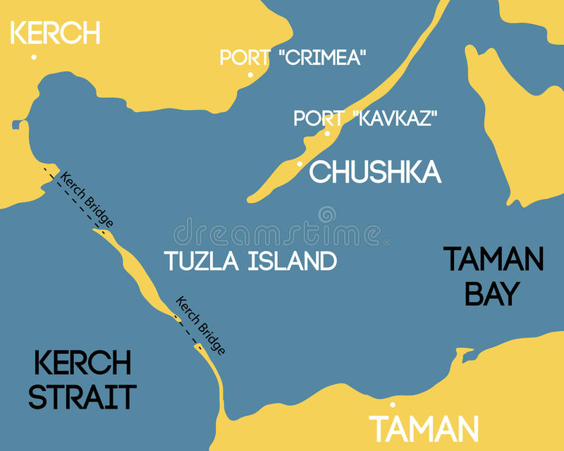 Bridge To Crimea. Schematic Map Of Kerch Bridge. Stock Vector ...