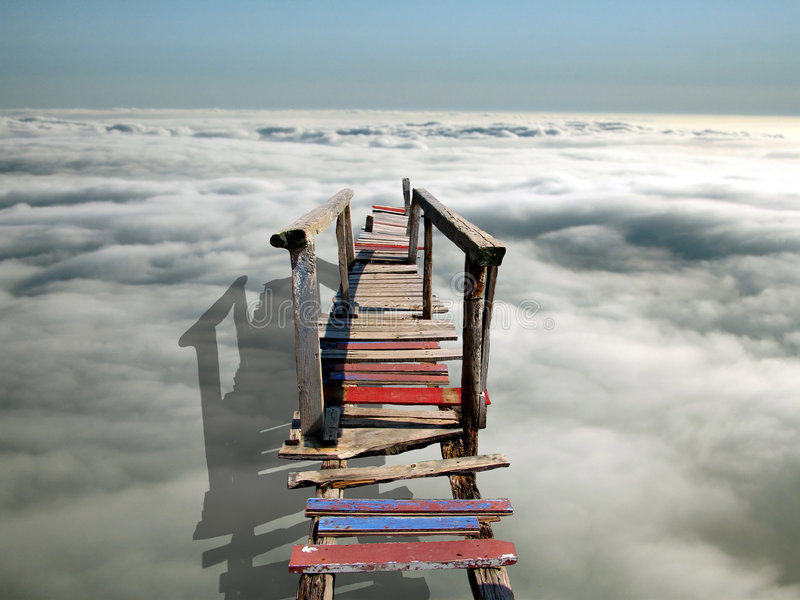 A bridge to heaven. A bridge over the clouds