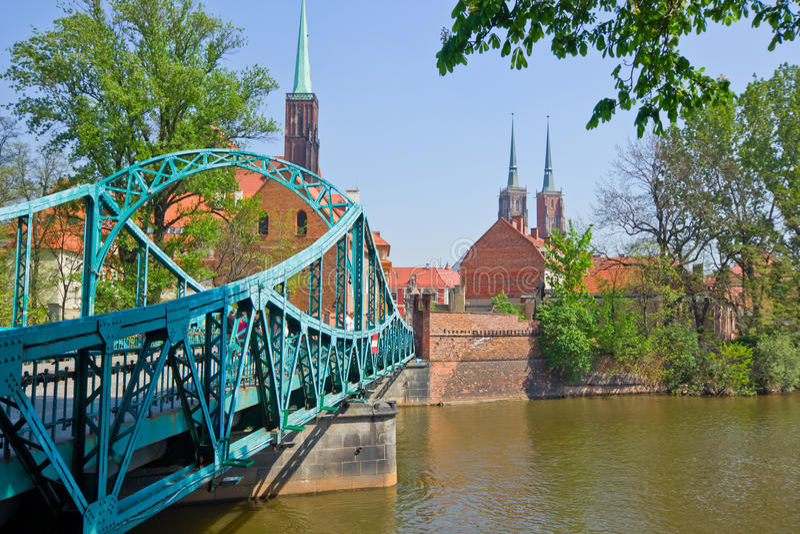 bridge to island Tumski, Wroclaw, Poland royalty free stock photo