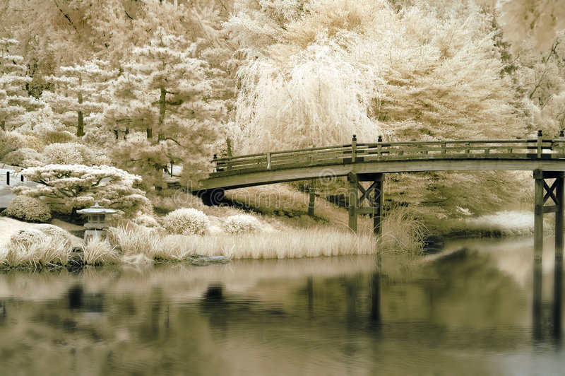 Download Bridge To A Japanese Garden Stock Image - Image of walkway, trees: 3475197