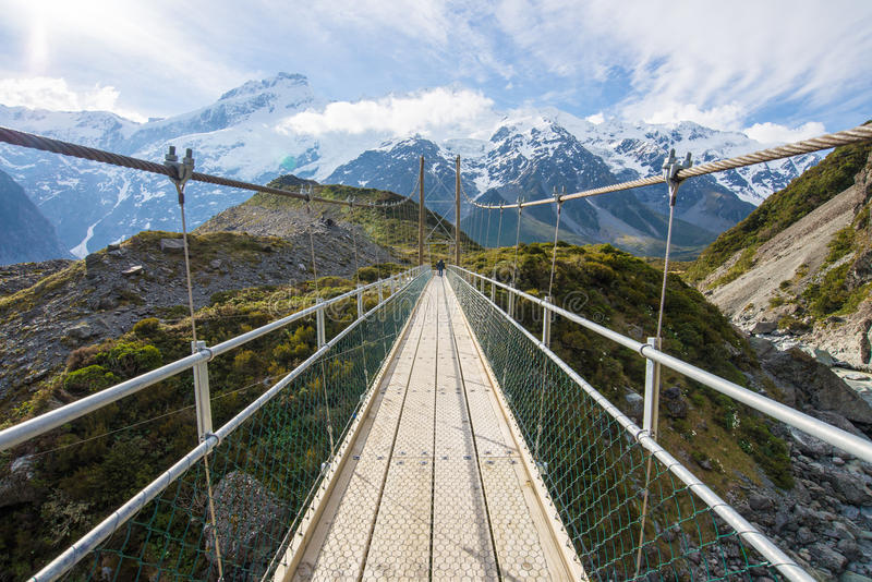 Bridge to the monthain in Mt. Cook National Park stock photography