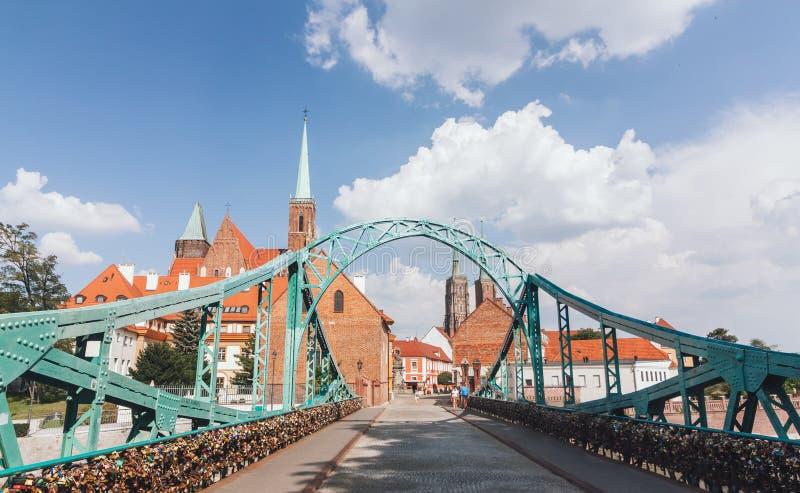 Ostrow Tumski in Wroclaw, Poland. Bridge to Ostrow Tumski in Wroclaw, Poland stock photos